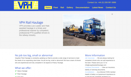 Vaughan Plant Haulage WordPress Project