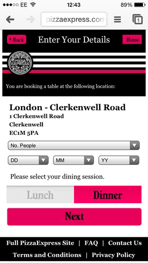 Pizza Express Mobile Navigation